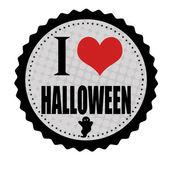 I love Halloween sticker or stamp — Stock Vector