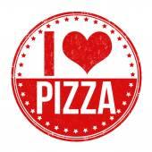 I love pizza stamp — Stock Vector