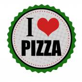 I love pizza sticker or stamp — Stock Vector