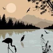 Heron an flamingo silhouettes on river — Stock Vector