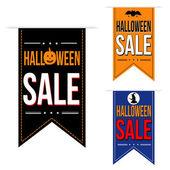 Halloween sale banner design set — Vector de stock