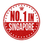 Number one in Singapore stamp — Stock Vector