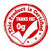 Trans fat zero grams stamp — Vector de stock