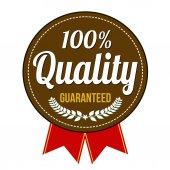 Hundred percent quality guaranteed badge — Stock Vector