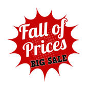 Falling prices big sale stamp — Stock Vector