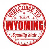 Welcome to Wyoming stamp — Stock Vector