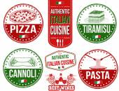 Authentic italian food stamps — Stock Vector