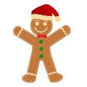 Gingerbread Man with Santa Hat — Stock Vector