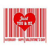 Happy Valentines Day barcode with heart inside — Stock Vector