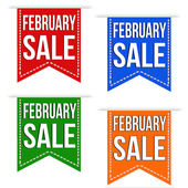 February sale banner design set — Vector de stock