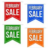 February sale banner design set — Stock Vector
