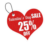 Valentines sale 25 percent off label or price tag — Stock vektor