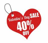 Valentines sale 40 percent off label or price tag — Vettoriale Stock
