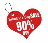Valentines sale 90 percent off label or price tag — Stock Vector