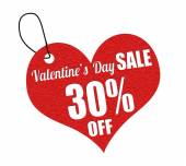 Valentines sale 30 percent off label or price tag — Stock Vector