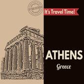 Athens, retro touristic poster — Stock Vector