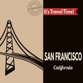 San Francisco, retro touristic poster — Stock Vector