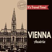 Vienna, retro touristic poster — Stock Vector