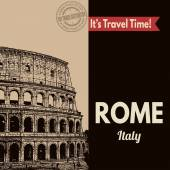 Rome, retro touristic poster — Stock Vector