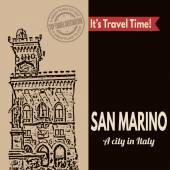 San Marino, retro touristic poster — Stock Vector
