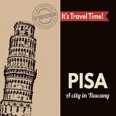 Pisa, retro touristic poster — Stock Vector