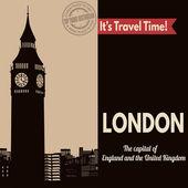 London, retro touristic poster — Stock Vector