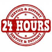 24 hour service and support stamp — Stock Vector
