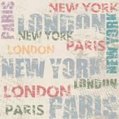 Typographic poster design with city names London, Paris and New York — Stock Vector