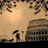 Couple silhouette in love in front of Colosseum — Stock Vector