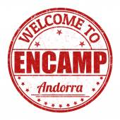 Welcome to Encamp, Andorra stamp — Stock Vector