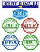 Bosnia and Herzegovina cities stamp — Stock Vector