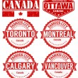 Set of Canada cities stamps — Stock Vector #65589477
