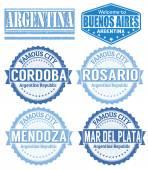 阿根廷城市邮票一套 — 图库矢量图片