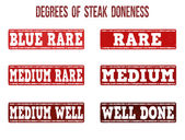 Degrees of steak doneness stamps set — Stock Vector