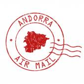 Andorra post office, air mail stamp — Stock Vector