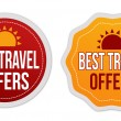 Best travel offers stickers set — Stock Vector #77518808