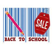 Tillbaka till skolan försäljning streckkod — Stockvektor