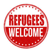 Refugees Welcome stamp — Stock Vector
