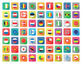 Large set of colourful flat world flag icons — Stock Vector