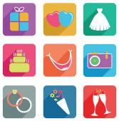 Set of wedding icons — Stock Vector