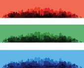 Over print cityscapes — Stock Vector