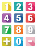Number flat icon sets — Stock Vector