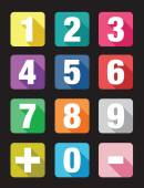 Number flat icon sets — Stock vektor