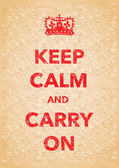 Red keep calm and carry on poster — Stock Vector
