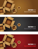 Open card board box banner sets — Stock Vector