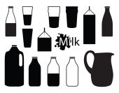 Milk silhouettes — Stock Vector