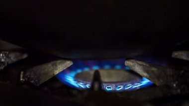 Blue Flame Of Gas Ring On Stove — Stock Video