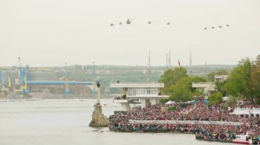 Helicopters flying in the sky during military parade. Overall shot. — Stock Video