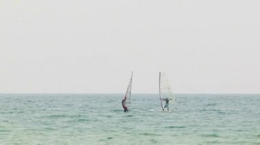 Windsurfers Meet In the Sea — Stock Video