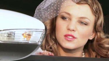 Portrait of Pretty Woman In Retro Style — Stock Video